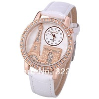 2014 Free Shipping Women Watch Diamonds Analog with Tower Pattern Round Dial PU Leather Watchband