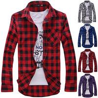 2014 New MENS VINTAGE PLAID CHECK LONG SLEEVE SHIRT,slim fit, shirts for men,High Quality T-SHIRT,free shipping I194