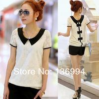 Free shipping 2014 new lace chiffon short sleeve shirt Bow wild shirt Ladie fashion clothes bowknot leisure Women Blouses S-XXXL