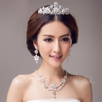 Necklace Earrings And Tiara Crown Crystals Flower Jewelry Set Bridal Accessories