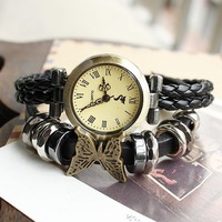 braided handmade women fashion watch 2014 hot sale leather Watchband round dress watches Free shipping