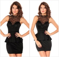 2014 New arrival summer women dress party evening Sexy Entrancing Hollow-out Back Peplum Dress B2215