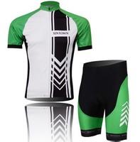 2014 outdoors sports men's green short sleeve Cycling clothing jersey Bicycle bike cycling jerseys bibs shorts Wholesale CJ021