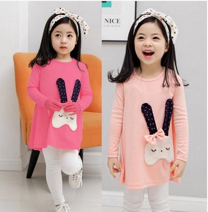 5PC/Lot Lovely Long Ears Bunny Children's Suit Long Sleeve Girls Blouse / Long Tops + White Leggings Clothing Set(China (Mainland))