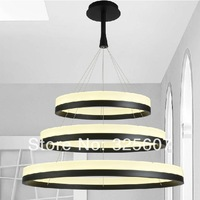 New LED Acrylic Chandelier Fixture Black Remote Control Pendant Lamp Modern Living Room Bedroom Restaurant Hanging Light