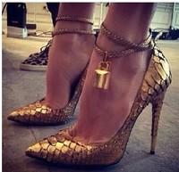 2014 Brand Luxury Pointed Toe Women Pumps Designer Golden Lock Ankle Strap High Heels Genuine Leather Dress Wedding Shoes Woman