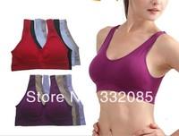 2014 HOT Selling  Breathing Sport Bra No Rims Sports Underwear Vest Seamless Bra Seamless Adjustment Girl Vest Color Bra Vest