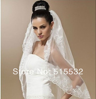 fashion Two-tier lace veil Wrist Length bride Wedding veil white or ivory +comb AL6690