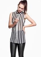 New 2014 fashion summer women Blouses striped girl shirt chiffon ladies blouse tops for women women work wear free shipping
