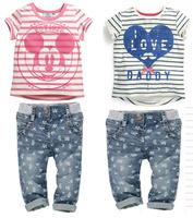 Kids Apparel 2014 Baby Girls Clothing Sets Girls MINNIE stripe jeans set summer short-sleeve MINNIE