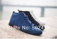 2014 New Style Men Fashion High-top Shoes for Man Flag Lace-UP Rubber Sole Casual Canvas Shoes Male Flats Students Shoes