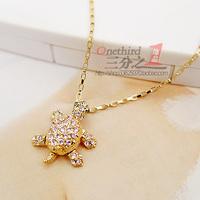 Accessories 14k gold crystal turtle short design necklace female