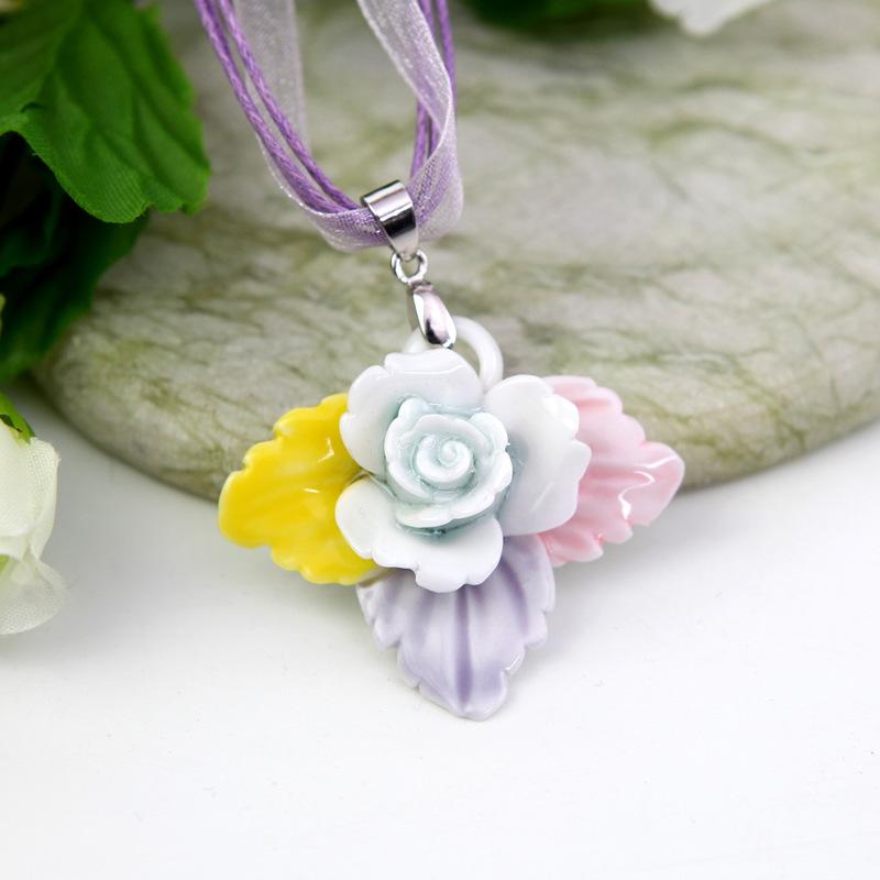 Porcelain Pendant Blanks Flowers Porcelain Pendant
