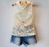 5pcs/lot new 2013 fashion pearls girls lace t-shirt children summer wear sleeveless tops