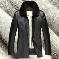 Deerskin male cross liner nick coat mink hair leather clothing marten overcoat