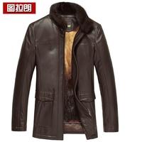 Sheepskin genuine leather skin nick coat male cross gold platinum mink liner genuine leather male clothing