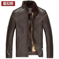 Leather clothing sheep genuine leather nick coat male gold mink liner Men marten overcoat coat