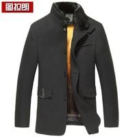 Wool wool coat male marten overcoat mink liner male nick coat medium-long gold liner
