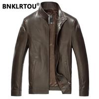Bnklrtou2014 genuine leather clothing male jacket sheepskin leather clothing male short design leather jacket