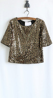 woman's fashion gold sequined crop tops summer american style short sleeve t-shirt