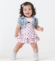 Free Shipping one Set Hearts Print Girl's Shirt Dress Set 2-Pcs Fashion Girls Jean Coat Dress Kids Clothes Set Suit Baby Wear