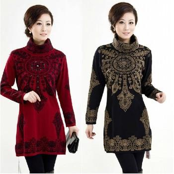 Новый 2014 осень и зима женской одежде свитер Большой размер мать одежда средней ...