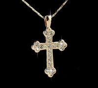 Free Shipping best price jewelry supply 18K sterling silver Plated Gp Austrian Crystal jesus cross pendant Necklace G925