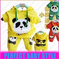 2014 Spring autumn 100% cotton baby's cloth kid's hoody short sleeve sweatshirt sets cotton lovely panda sports suits