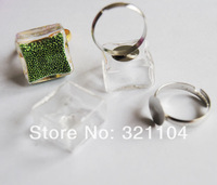 Free ship! 20sets/lot 20mm Square Glass Bubble vial & Ring set DIY Jewelry Findings NEW (not include the fillers)
