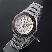Fashion Men wathes Stainless Steel Case Quartz Watch Casual Wristwatches Dropship DEEP RED 9738