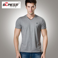 2014 t-shirt male fashion brief V-neck men's clothing t-shirt combed cotton short-sleeve male basic shirt