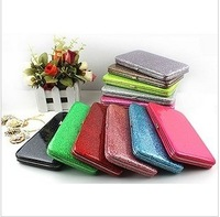 Pearlizing 2014 candy color small boxes wallet long design women's japanned leather wallet card holder  Free shipping