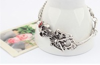 Free shipping cranio pulseira popular summer exaggerated skull jewelry fashion silver & bronze skeleton bracelet for cute women
