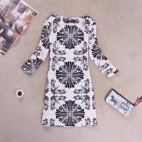 [R&V] 2014 brand women dress spring vintage  dresses office lady dress color blocked print flower  dress plus size RS6520