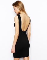 Basic racerback slim sleeveless elastic milk silk fit bodycon one-piece dress