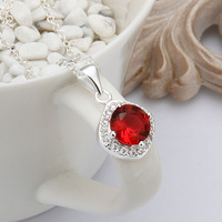 New arrivals 925 sterling silver jewelry pendant necklace Women Health jewelry red crystal CZ Charms necklaces & pendants N464