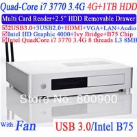 Free Shipping Mini HTPC ITX with Intel quad core i7 3770 3.4Ghz 8 threads L3 8MB Aluminum 2.5 inch HDD drawer 4G RAM 1TB HDD