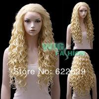 "Free shipping 30"" Long Golden Blonde Spiral Curly Lace Front Wig Heat Resistan Natural Kanekalon Fiber Hair wigs"
