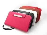 High quality Litchi grain Flip cover pu leather case with card holder for Sony Xperia M /Dual/C1905/C1904/C2004/C2005