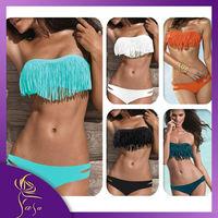 2014 Sexy Women Swimwear Padded Boho Fringe Bandeau Top Swimsuit Lady Bathing Suit High Fashion Bikini Set Free Shipping