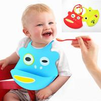 1PC Washable Silicone Infant Feeding Baby Kids Bibs Fun Characters Waterproof Bib Saliva Pocket 9 Colors High Quality