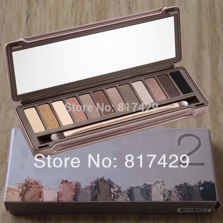 2014 Newest nake Makeup Palette 2 12 Colors nk2 Glitter Matte Eyeshadow palettes with Brush Cosmetics Make up set Free Shipping(China (Mainland))