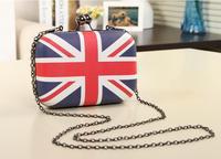 Fashion UK England British Flag Women Messenger Bag Chain Purse Mini Box Crossbody Shoulder Day Clutch Evening Bag Handbag KL198