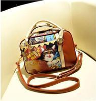 New Hot Sale Fashion Cute Women's Handbag Shoulder Bag Cartoon Bags Cat Printed Free Shiping Cartoon Bags KL197