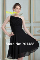 2014 Hot Sexy  Chic Ruched A-Line One-shoulder Short Princess Bateau Tea Knee Length  Bridesmaid Dress