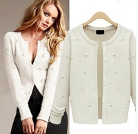 spring new 2014 women fashion beading single breasted Cardigan sweater women long-sleeve sexy cardigans