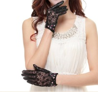 Cyrilus Women's Gothic leather lace lolita gloves Cover with diamond UV Protection