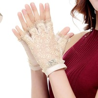 Cyrilus Women Lady genuine leather gloves fingerless imported suede lace sexy gloves UV Protection 3 Color