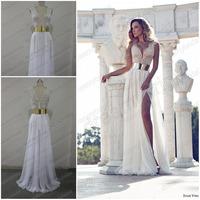 Dreamybridal Real sample! 2014 Deep V-Neck Embroidery Beaded Gold Metal Belt Chiffon Julie Wedding Dresses Designer bride Dress