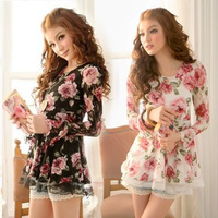 2014 New Fashion Casual Women Lady Floral Print Lace T Shirts Long Sleeve Shirt Tops, Black, White, S, M, L, XL
